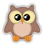 Cute owl label on white background Royalty Free Stock Image