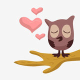 Cute owl in love. On the tree royalty free illustration