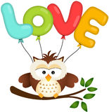 Cute Owl with Love Balloon Stock Photos