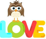 Cute owl with love word letters Stock Images
