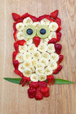 Cute owl, made of fruits Royalty Free Stock Image
