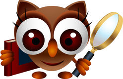 Cute owl with magnifying glass and book Stock Images
