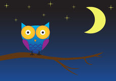 Cute owl night background. Background with cute owl sitting on tree during night royalty free illustration