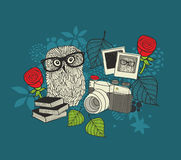 Cute owl and old photos. Royalty Free Stock Photos