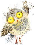 Cute owl. Owl watercolor illustration. Owl T-shirt print. Greeting Card. Stock Photo