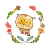 Cute owl Owlet for kindergarten, nursery, children clothing, baby pattern Stock Images