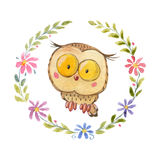 Cute owl Owlet for kindergarten, nursery, children clothing, baby pattern Stock Photo