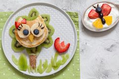 Cute owl pancake with fruits for kids breakfast. Funny cute owl pancake with fruits for kids breakfast Royalty Free Stock Photography