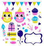 Cute owl party elements Stock Photos