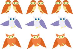 Cute owl. Pattern cute owl background art Stock Photos