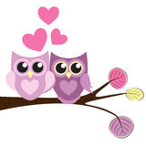 Cute Owl Pattern Background for Valentines Day with Hearts and P Royalty Free Stock Image