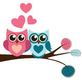 Cute Owl Pattern Background for Valentines Day with Hearts and P Stock Photography