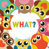 Cute Owl Pattern Background With Place For Your Text Vector Illustration Royalty Free Stock Images