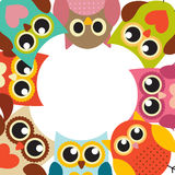 Cute Owl Pattern Background With Place For Your Text Vector Illustration Stock Images