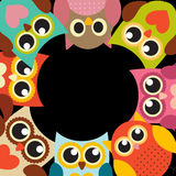 Cute Owl Pattern Background With Place For Your Text Vector Illustration Royalty Free Stock Image