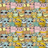Cute owl pattern seamless. On the transparent background Stock Image