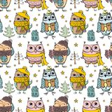 Cute owl pattern seamless Royalty Free Stock Images