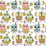 Cute owl pattern seamless Royalty Free Stock Photography