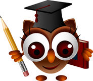 Cute owl with pencil and book Royalty Free Stock Photos