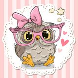 Cute owl in pink eyeglasses. Cute cartoon owl in pink eyeglasses with a bow vector illustration