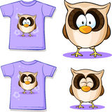 Cute owl printed on shirt. White background Stock Photos