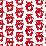 Cute owl red silhouette seamless pattern on a white background Stock Images