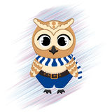 Cute owl in santa clothes on the hand drawn background. Christmas character, holiday design, vector illustration. Royalty Free Stock Photos