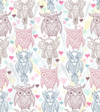 Cute owl seamless pattern Stock Photo