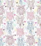 Cute owl seamless pattern Stock Photo