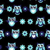 Cute Owl Seamless Pattern Background Vector Illustration Stock Images
