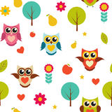 Cute Owl Seamless Pattern Background Vector Illustration Royalty Free Stock Photos