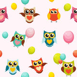 Cute Owl Seamless Pattern Background Vector Illustration Royalty Free Stock Image