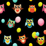 Cute Owl Seamless Pattern Background Vector Illustration Stock Image