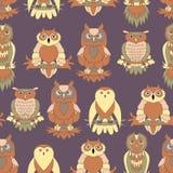 Cute owl seamless pattern. Cartoon style bird Stock Photo