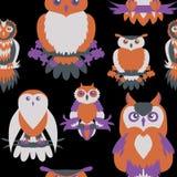 Cute owl seamless pattern. Cartoon style bird Royalty Free Stock Photography