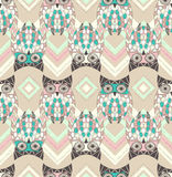 Cute owl seamless pattern with native elements Royalty Free Illustration