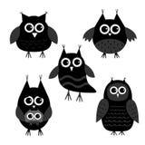 Cute owl set. Big eyes. Black icons on white. Baby background. . Flat design. Royalty Free Stock Image
