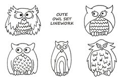 Cute owl set - linework. Illustration for kids. vector illustration