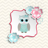 Cute owl in shabby chic style, illustration Royalty Free Stock Image