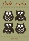 Cute owl silhouette illustration. Hand draw of night birds Stock Images