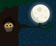 Cute owl sit at hollow under the moon vector illustration