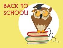 Cute owl sitting on books Stock Image