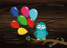 Cute owl sitting on a branch and holding many colorful balloons. Greeting card or birthday invitation. Vector illustration on wooden background Royalty Free Stock Photo