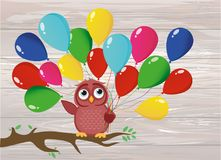 Cute owl sitting on a branch and holding many colorful balloons. Greeting card or birthday and Valentine`s Day invitation. Vector illustration on wooden Stock Image