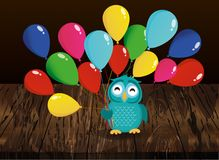 Cute owl sitting on a branch and holding many colorful balloons. Greeting card or birthday and Valentine`s Day invitation. Vector illustration on wooden Royalty Free Stock Images