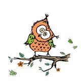 Cute owl sitting on a branch of a tree,isolated on white backgro. Und,hand drawing vector illustration Royalty Free Stock Photo