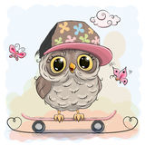 Cute owl on a skateboard Royalty Free Stock Images