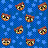 Cute  owl and stars seamless pattern. Abstract colorful print with flowers, owls and stars. Scrapbook colored kids paper Royalty Free Stock Image