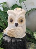 Cute Owl statue in garden Royalty Free Stock Photography