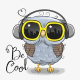 Cute Owl with sun glasses. Cool Cartoon Cute Owl with sun glasses Royalty Free Stock Photo